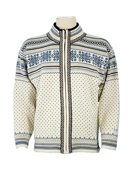 Dale of Norway Grotli Cardigan (Cream / Bluebird / Light Charcoa