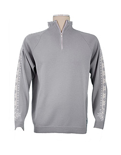 Dale of Norway Slaata Masculine Merino Sweater (Silver / Off-white)