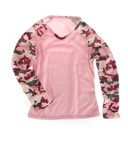 Hot Chillys Pepperskins Baseball Crewneck Kid's (Pink/ Meadow)
