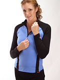 Hot Chillys Color Blocked Zip T Women's (Sky / Black)