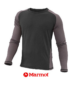 Marmot Midweight Crew Long Sleeve Men's (Black / Afterdark)